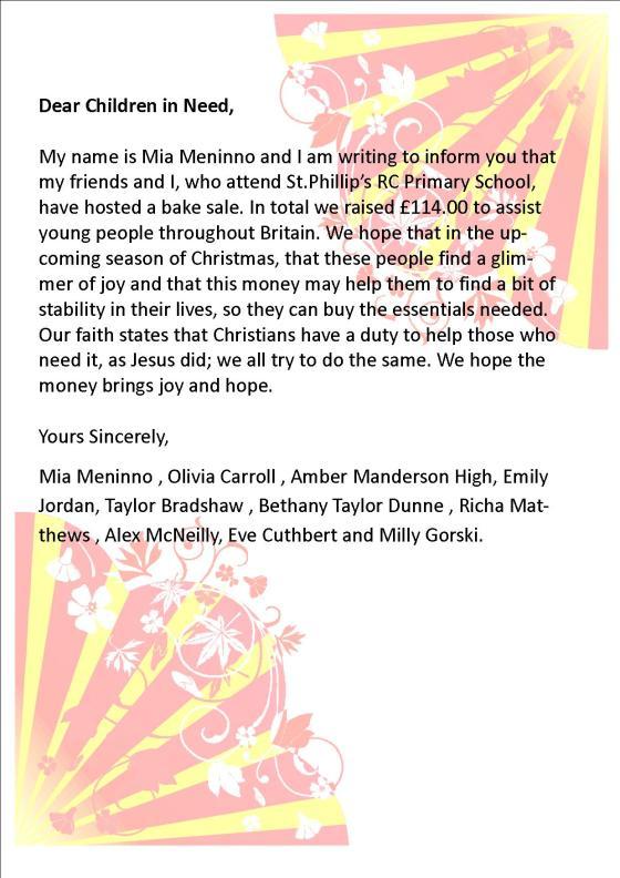 Children in Need Letter