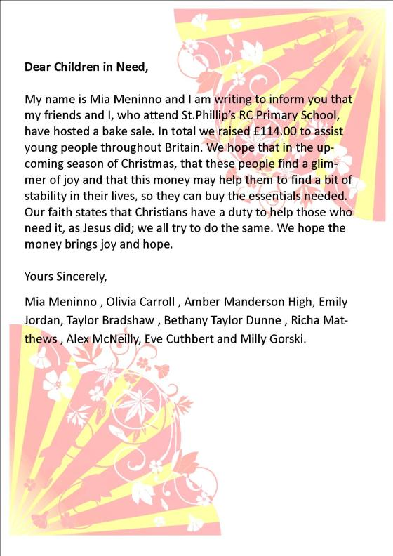 Children in Need Letter